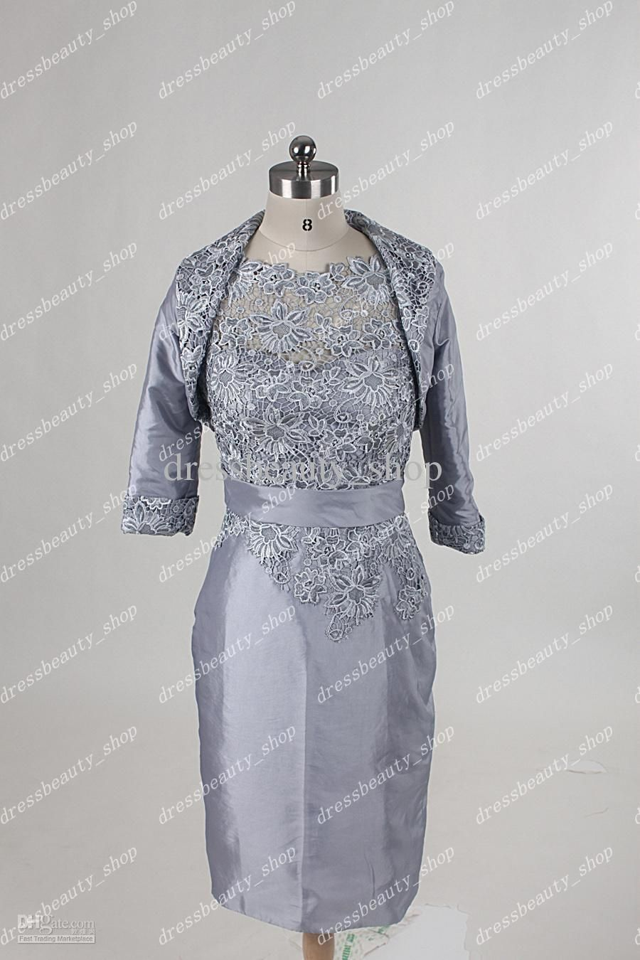 Short Silver Mother of the Bride Dresses