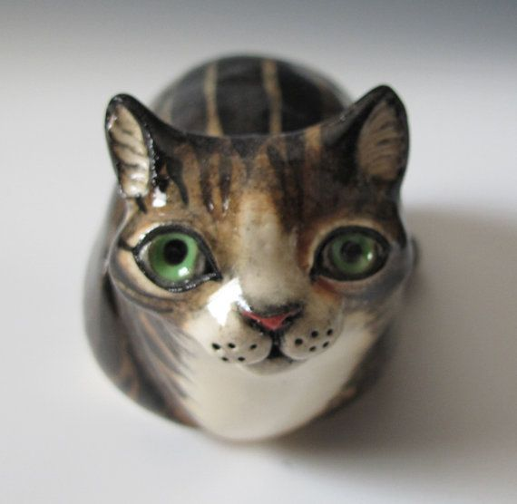 Gray Tabby Cat Ceramic Sculpture and Rattle - Maid of Clay