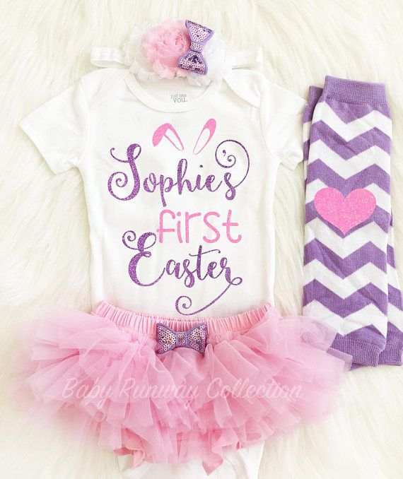7126ffce4 My First Easter Baby Girl Outfit - Custom bodysuit - Optional Leg ...
