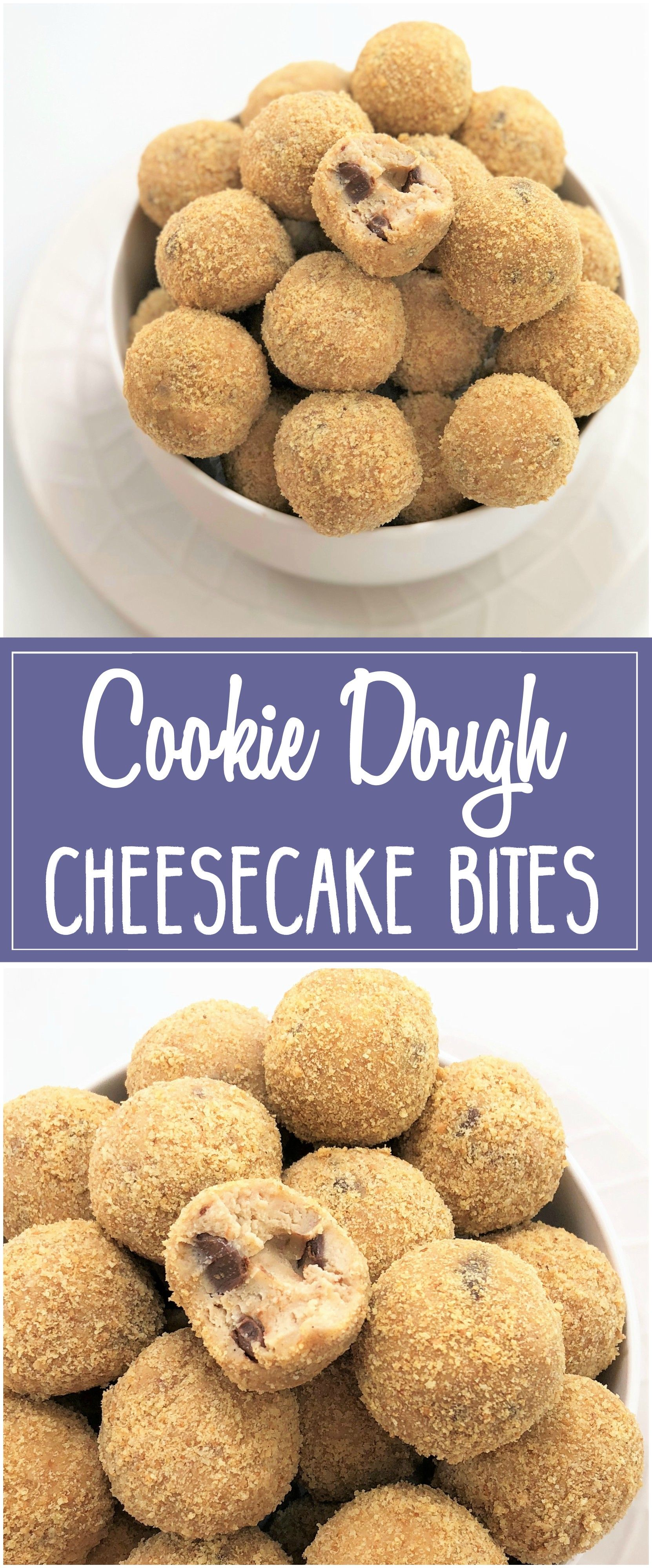 No-bake cookie dough truffles with a cream cheese twist, rolled in cookie crumbs for that cheesecake taste. These no bake chocolate chip cookie dough balls are also eggless | chefnotrequired.com #cookiedough #cheesecake #cheesecakebites #cookiedoughtruffles #cookiedoughballs #eggless #noeggs