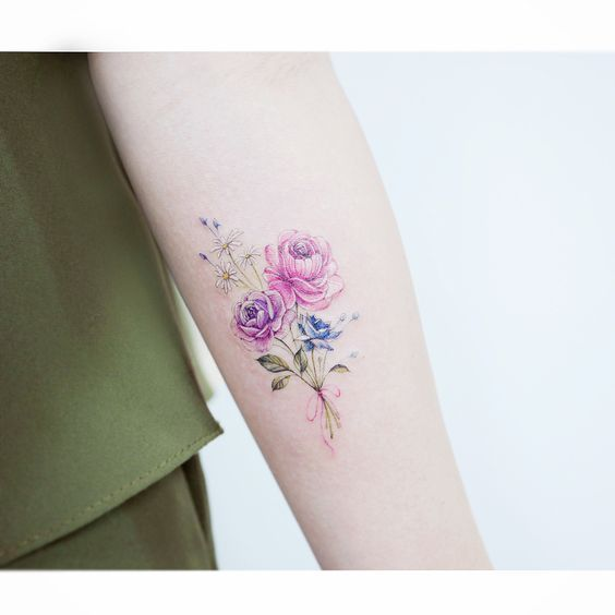 Watercolor Tiny Flower Tattoos Small Tattoo Designs Small