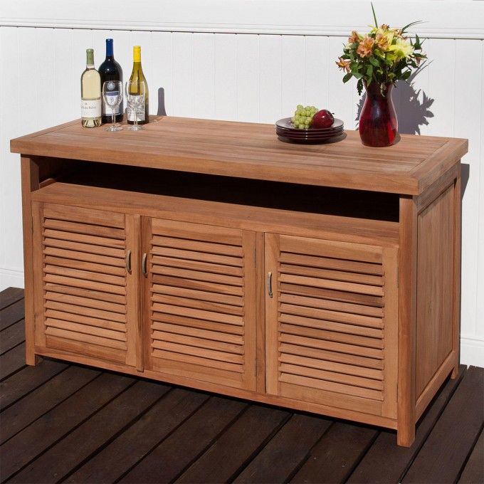 Beautiful Teak Buffet With Storage   Outdoor Furniture   Outdoor