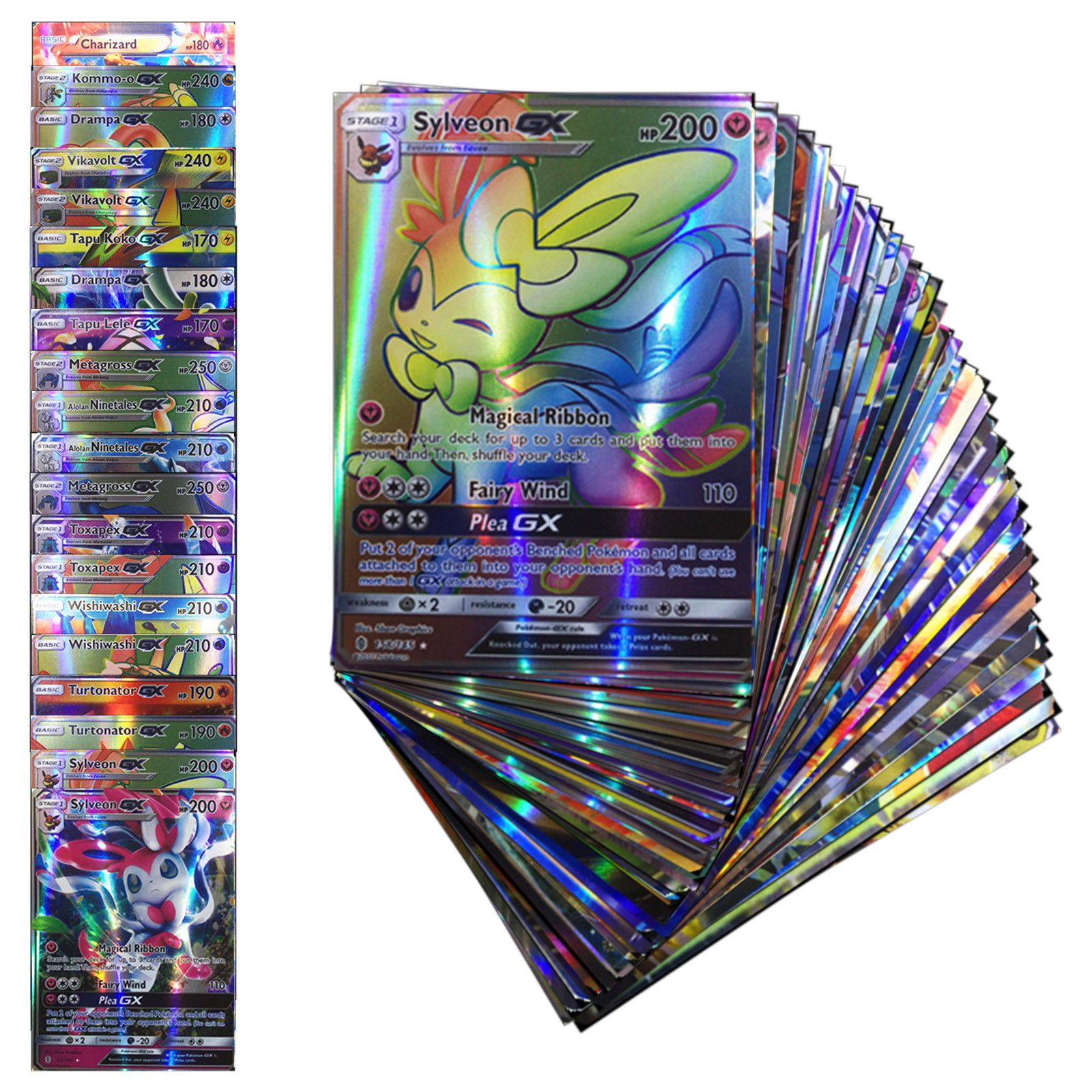 100PCS 80EX + 20 MEGA EX POKEMON cards TCG Flash HOLO Trading cards deck set
