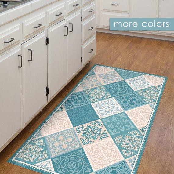 Turquoise Vinyl Kitchen Mat Vintage Tiles Design Vinyl Floor Etsy In 2020 Vinyl Flooring Vinyl Floor Mat Kitchen Mat