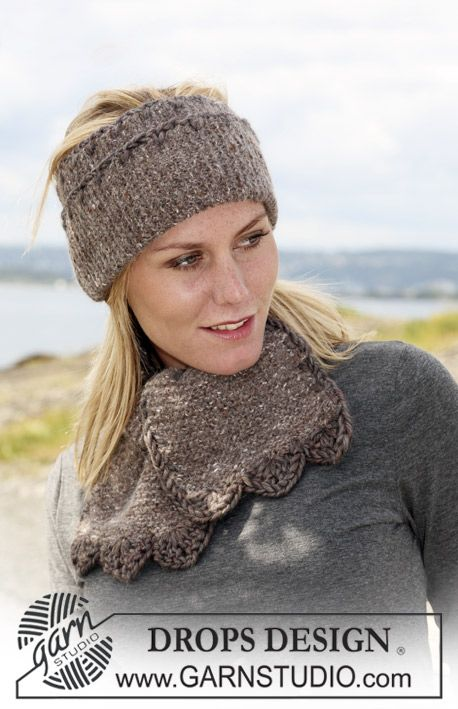 "Set comprising: Knitted DROPS ear warmer and scarf in ""Angora-Tweed ..."