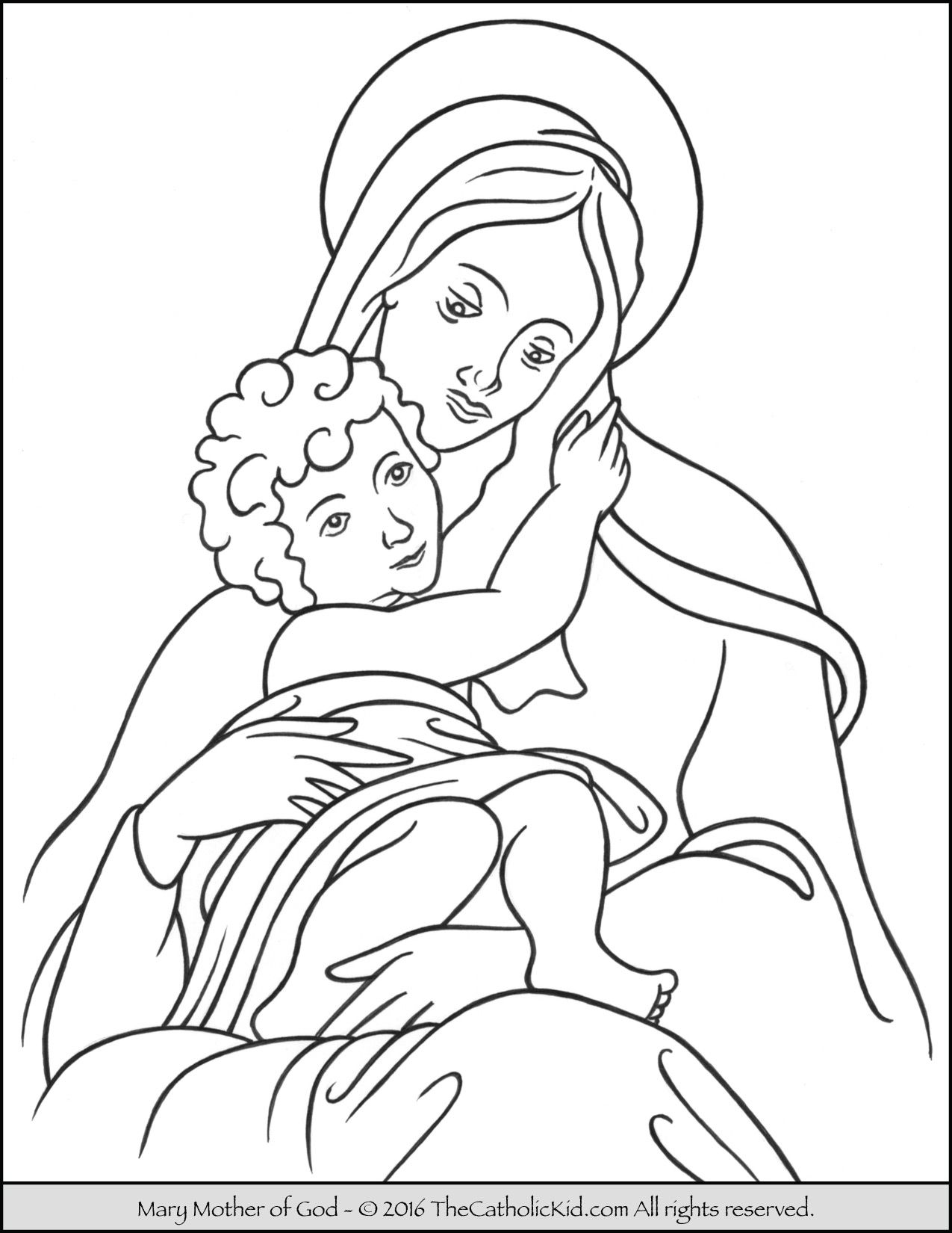 Mary Mother Of God Coloring Page Thecatholickid Com Jesus