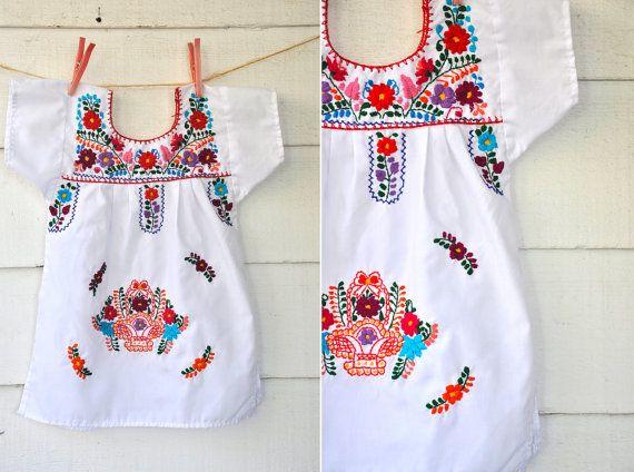 0ecb7a59c5ae3 Embroidered Mexican Baby Girl Senorita Dress Boho size 1 - 2 - 3 - 4 ...
