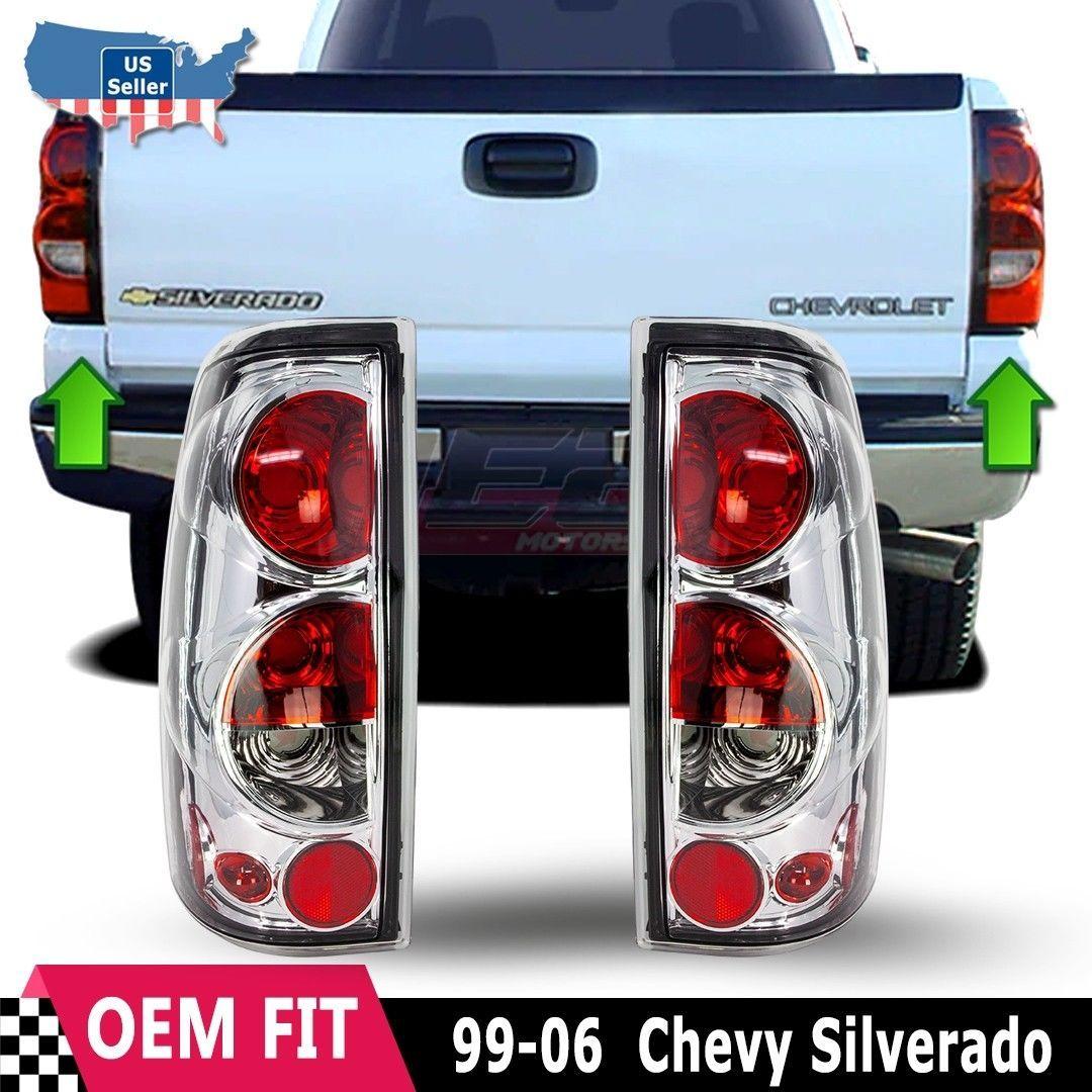 For 99 06 Chevy Silverado 99 03 Gmc Sierra Chrome Clear Tail Light Diesel Trucks Diesel Trucks Duramax Diesel