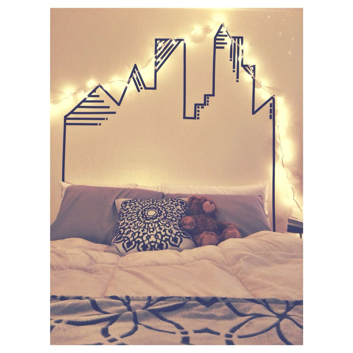 Washi tape skyline headboard wall decoration | Apartment | Pinterest ...