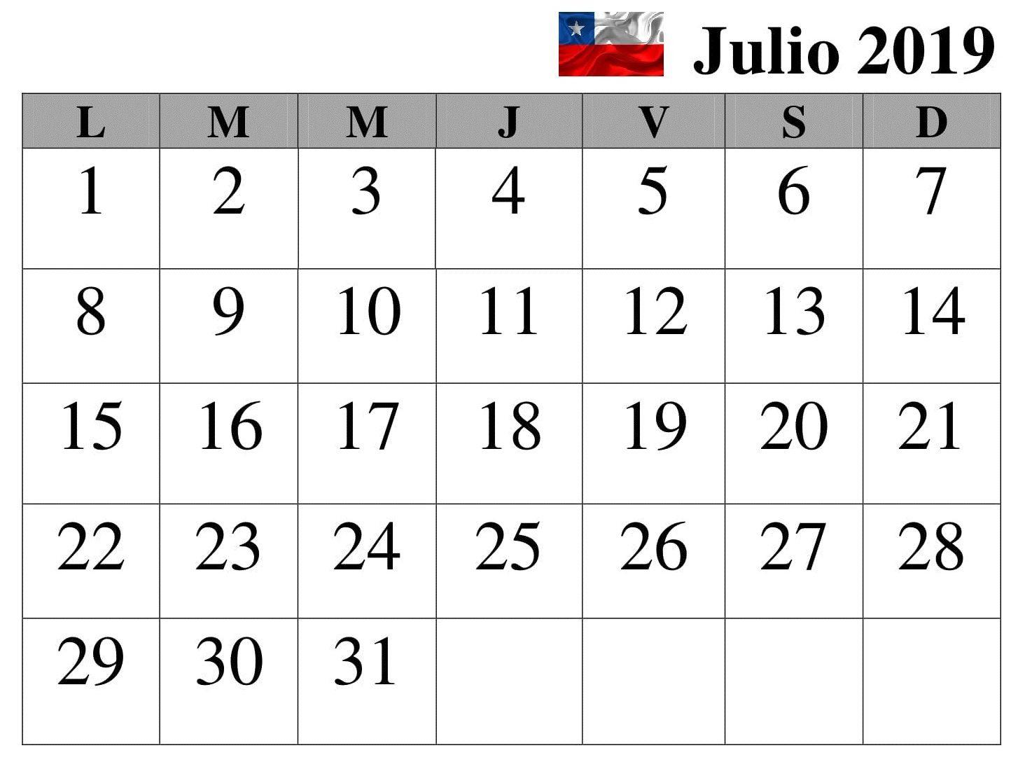 Calendario 2019 Julio Chile.Calendario 2019 Gratis Julio Chile Mensual Vacaciones