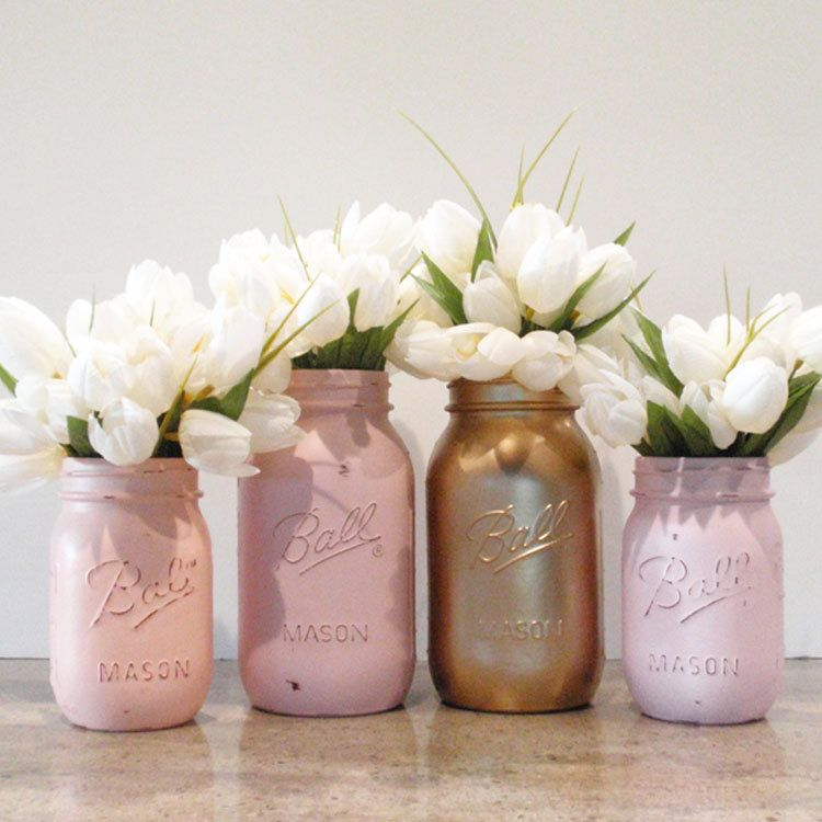 4 Hand Painted Mason Jars Flower Vases Silvia Collection Country