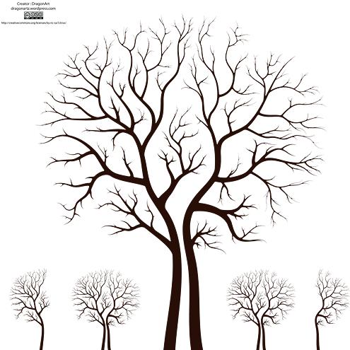 Leafless Autumn Tree Design Vector Tree Stencil Tree Art Tree Designs