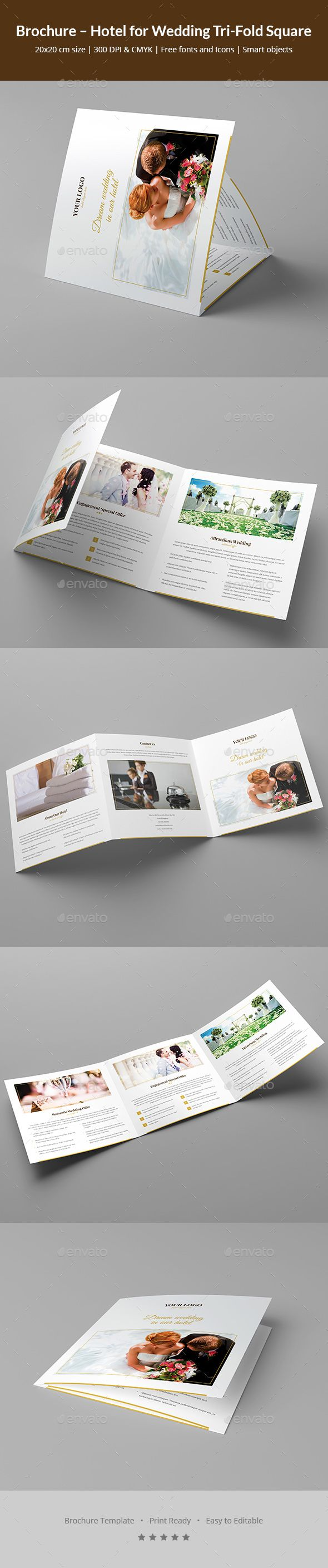 Hotel For Wedding Tri-Fold Square Brochure Template Psd