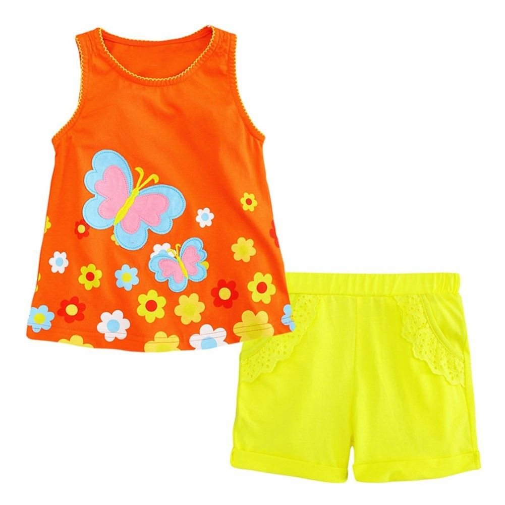 Little Girls Outfit Summer Cotton Shorts Set Toddler Outfit Clothes Set -  Pink 2 - C8182DLO680 | Girls summer outfits, Little girl outfits, Outfit  sets