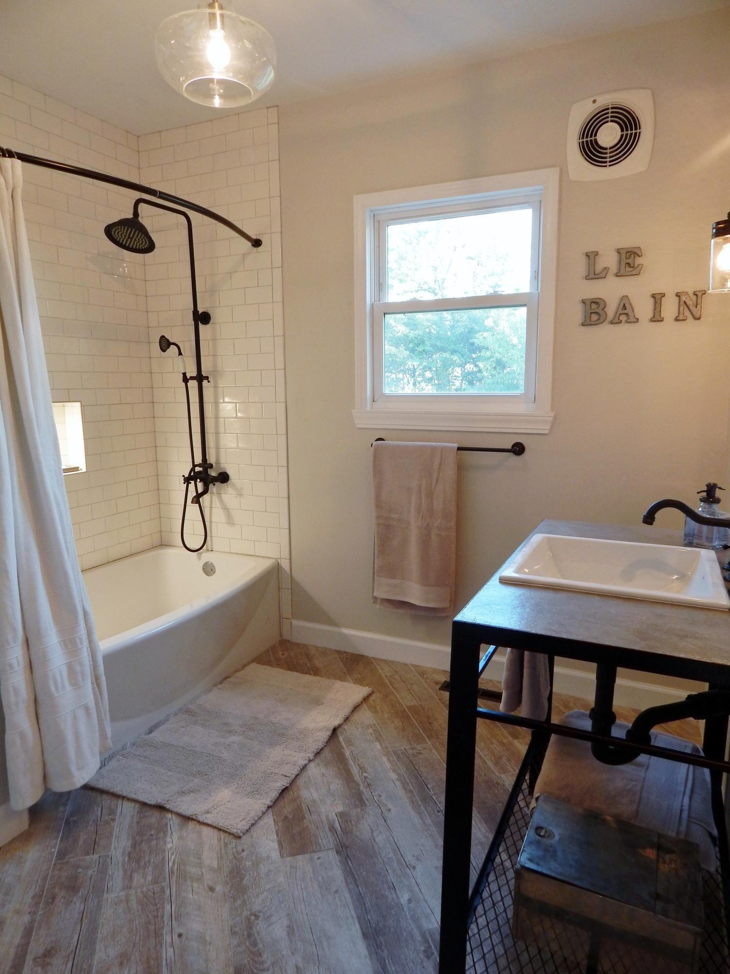Complete bathroom remodel in the modern farmhouse style ... on Farmhouse Bathroom Floor Tile  id=39532