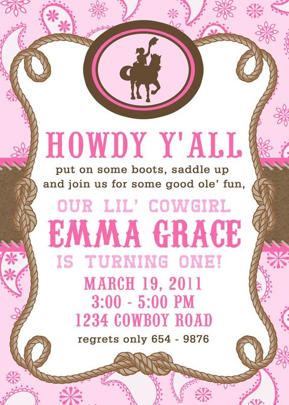 Printable Invitation Design Giddy Up Lilu0027 by papercupcakedesigns - birthday invitation template printable