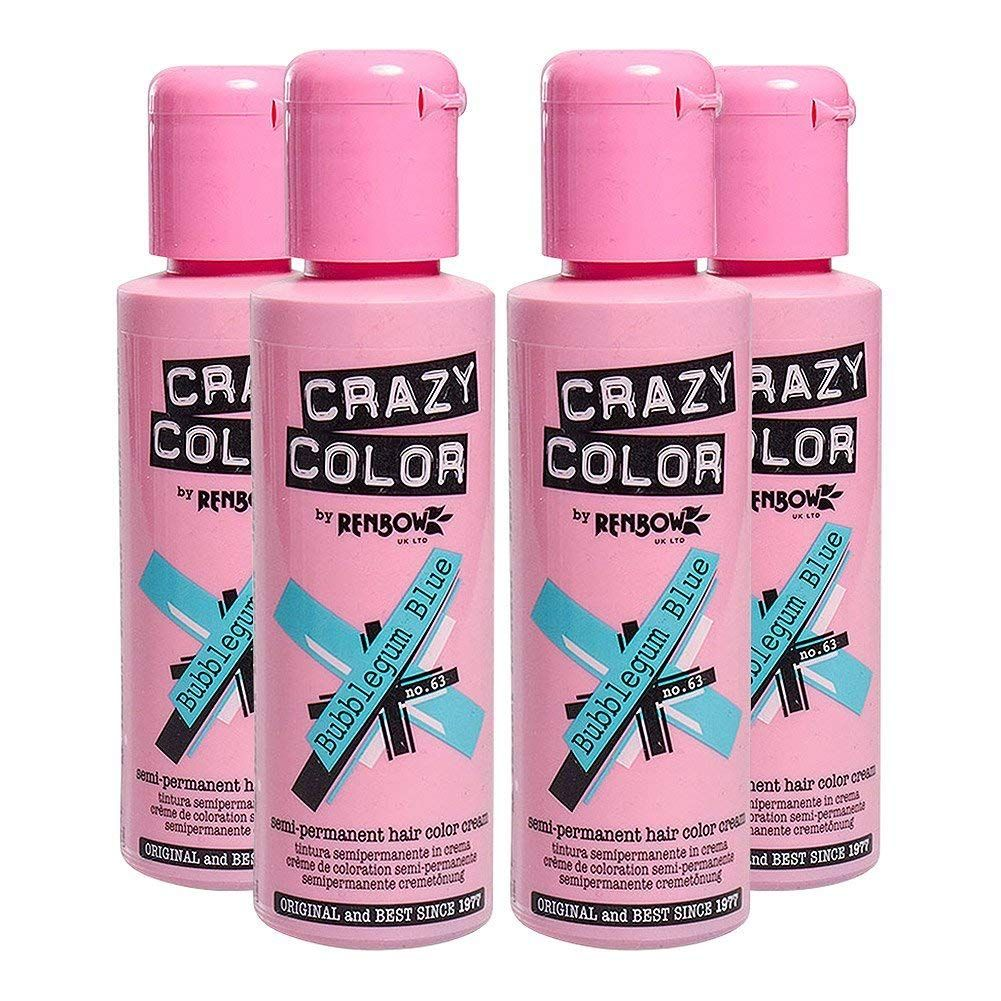 Crazy Color Semi Permanent Hair Color Cream Bubblegum Blue No 63