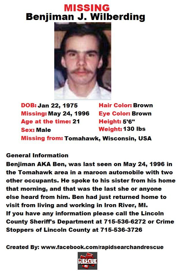 Current Missing Person flyers from Wisconsin in the 1990s To assist