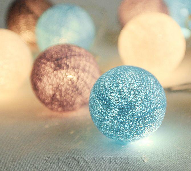 Blue Beach Cottage Cotton Ball Patio Party String Lights – Fairy, Wedding, Decor