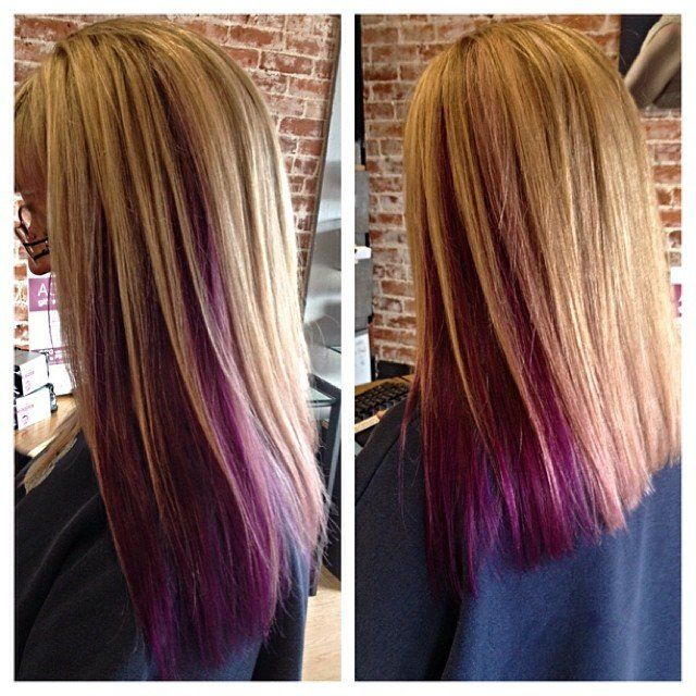 Blonde Highlights With Violet Peek A Boo Hairstyles