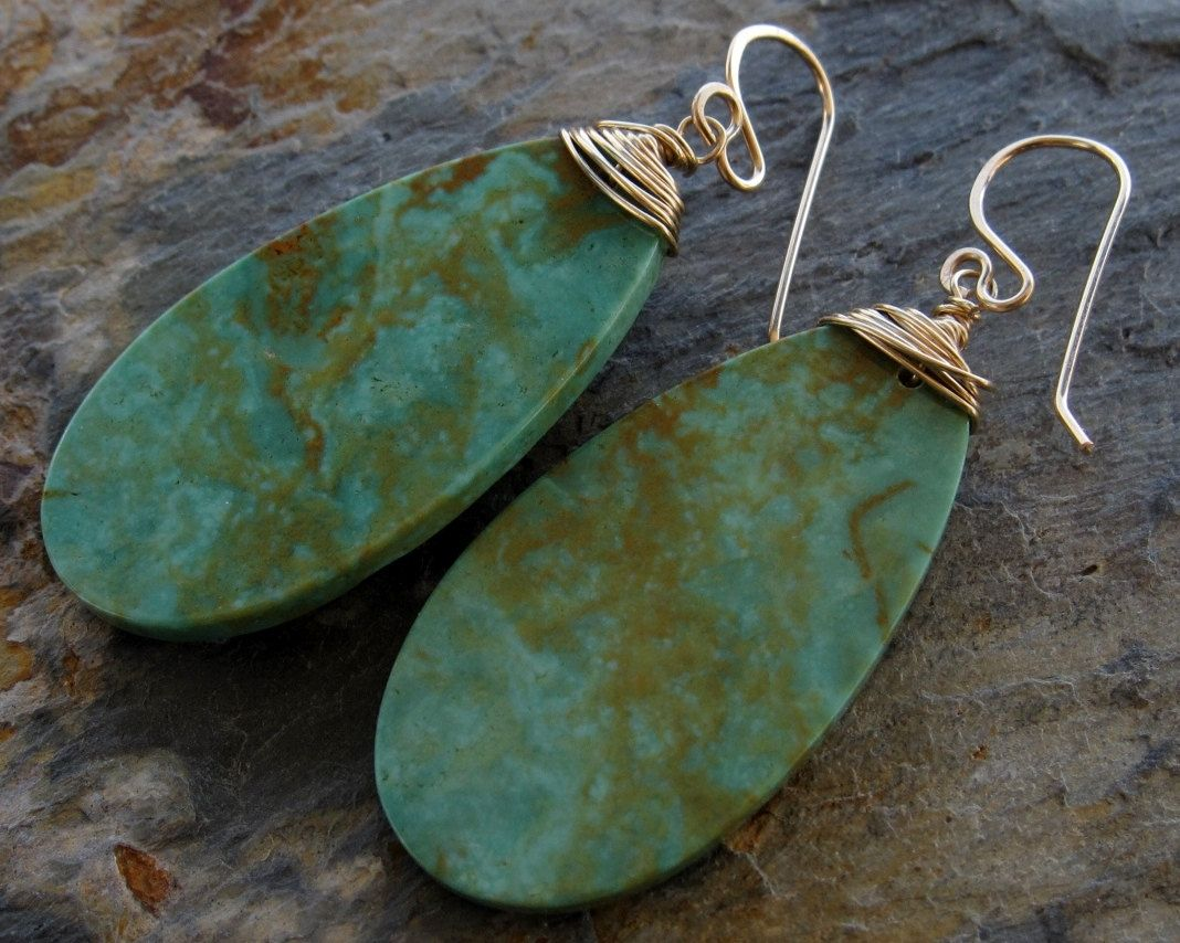 Campo Frio Sonora Mexico Large Turquoise Drop Earrings By Ginnywolfstudio On Etsy