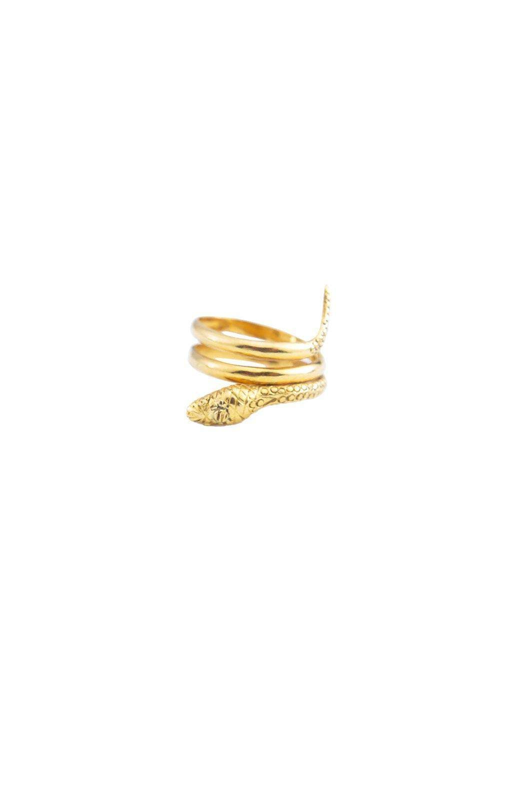 """Unusual yet simple in design this coiled snake elegantly wraps around the finger. In many cultures the snake is a symbol of wisdom, transcendence, healing and rejuvenation. 14 karat gold, inside stamp """"Made in Greece.""""  Gold Snake Ring by Luxe Boutiques. Accessories - Jewelry - Rings Accessories - Jewelry - Fine Jewelry Back Bay, Boston, Massachusetts"""