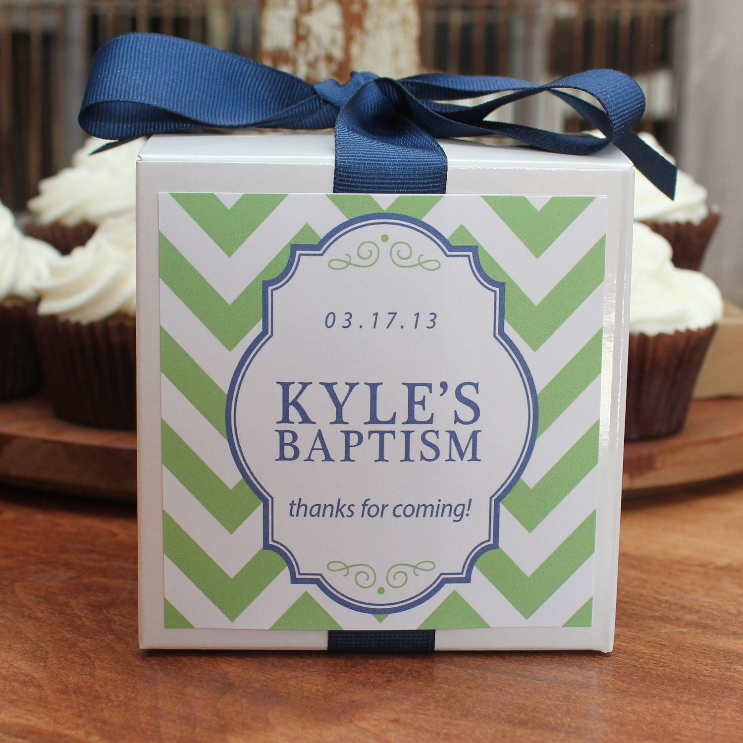 Baptism Favor Cupcake Boxes Chevron Design Any Color