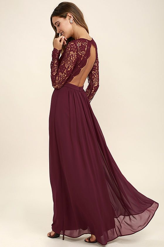 awaken my love burgundy long sleeve lace maxi dress | full length