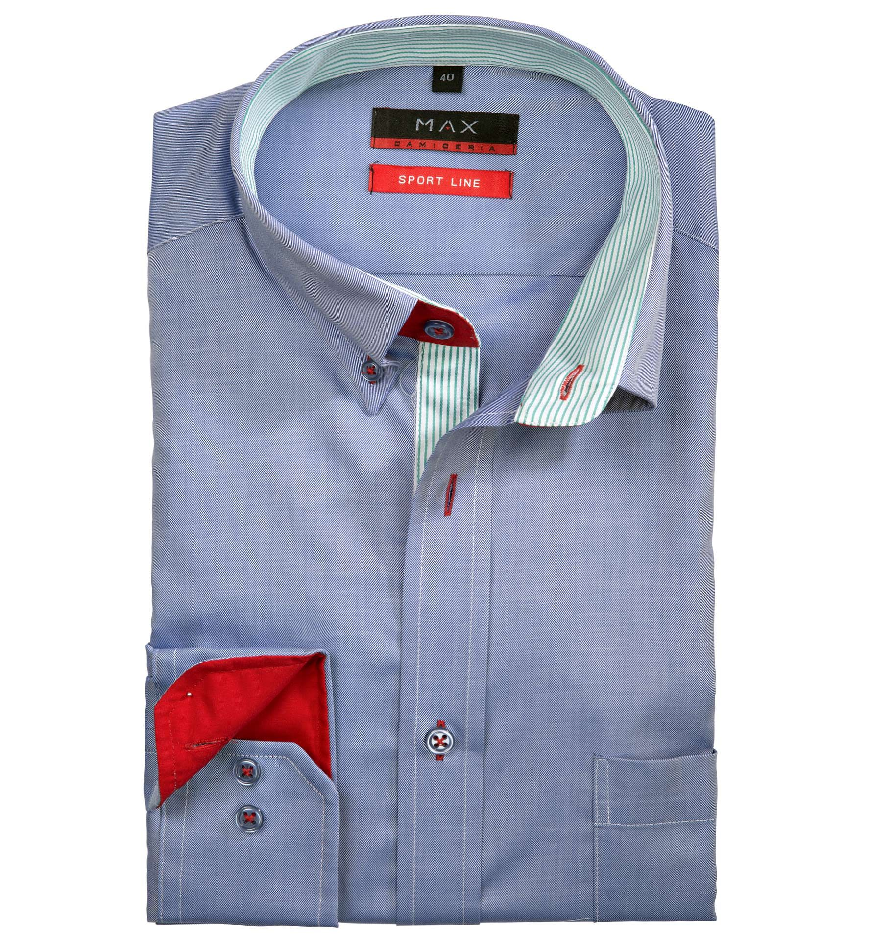 Modern Fit polopriliehavá modrá jednofarebná košeľa Tvil (keprová tkanina)