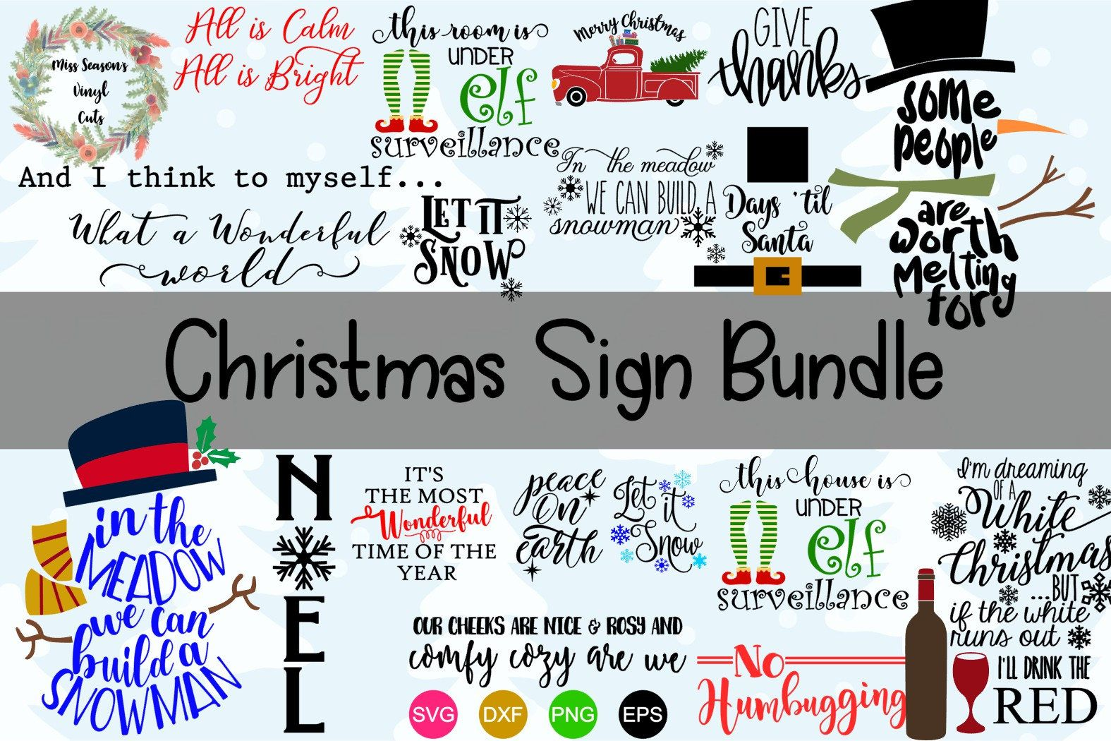 Christmas Sign Bundle Svg Dxf Eps Png 15 Christmas Svg Digital File Only Commercial And Personal Use Christmas Signs Christmas Svg Christmas Svg Files