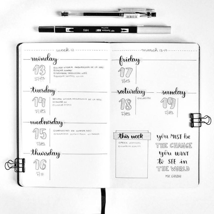 Bullet Journal Weekly Spread Inspiration Galerie #octoberbulletjournal