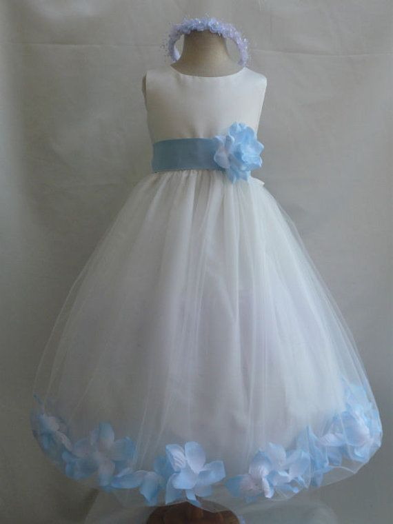6a8fa4227 Flower Girl Dress IVORY w  Blue Sky PETAL Wedding Children Easter ...