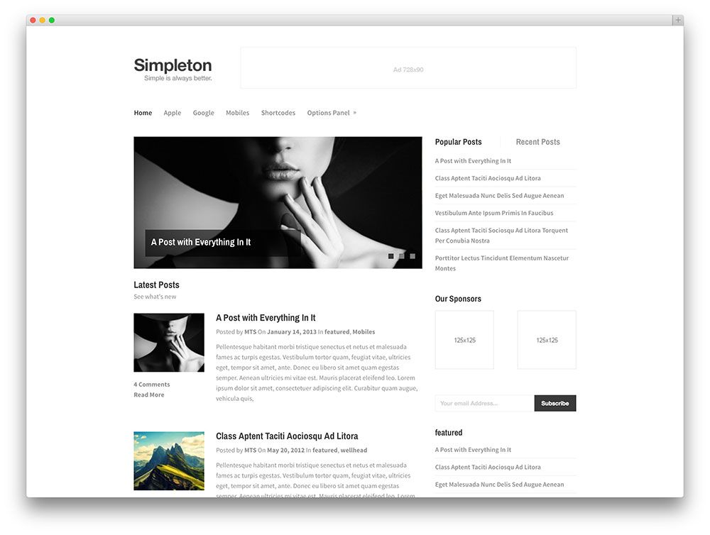 simpleton visionary minimal blog theme | Wordpress Themes ...