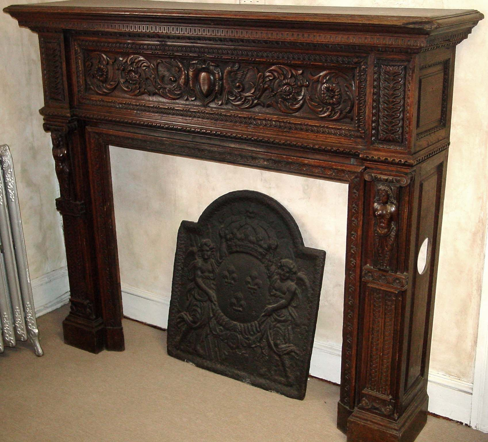 Antique fireplace mantels french hand carved wood for Wood fireplace surround designs