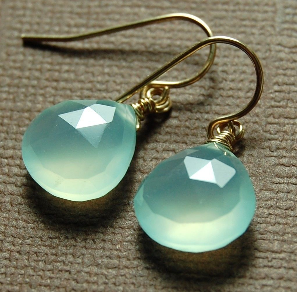 Gold Chalcedony Earrings, Aqua Briolette Gemstones Wire Wrapped 14K Gold Fill Ear Wires. $27.00, via Etsy.