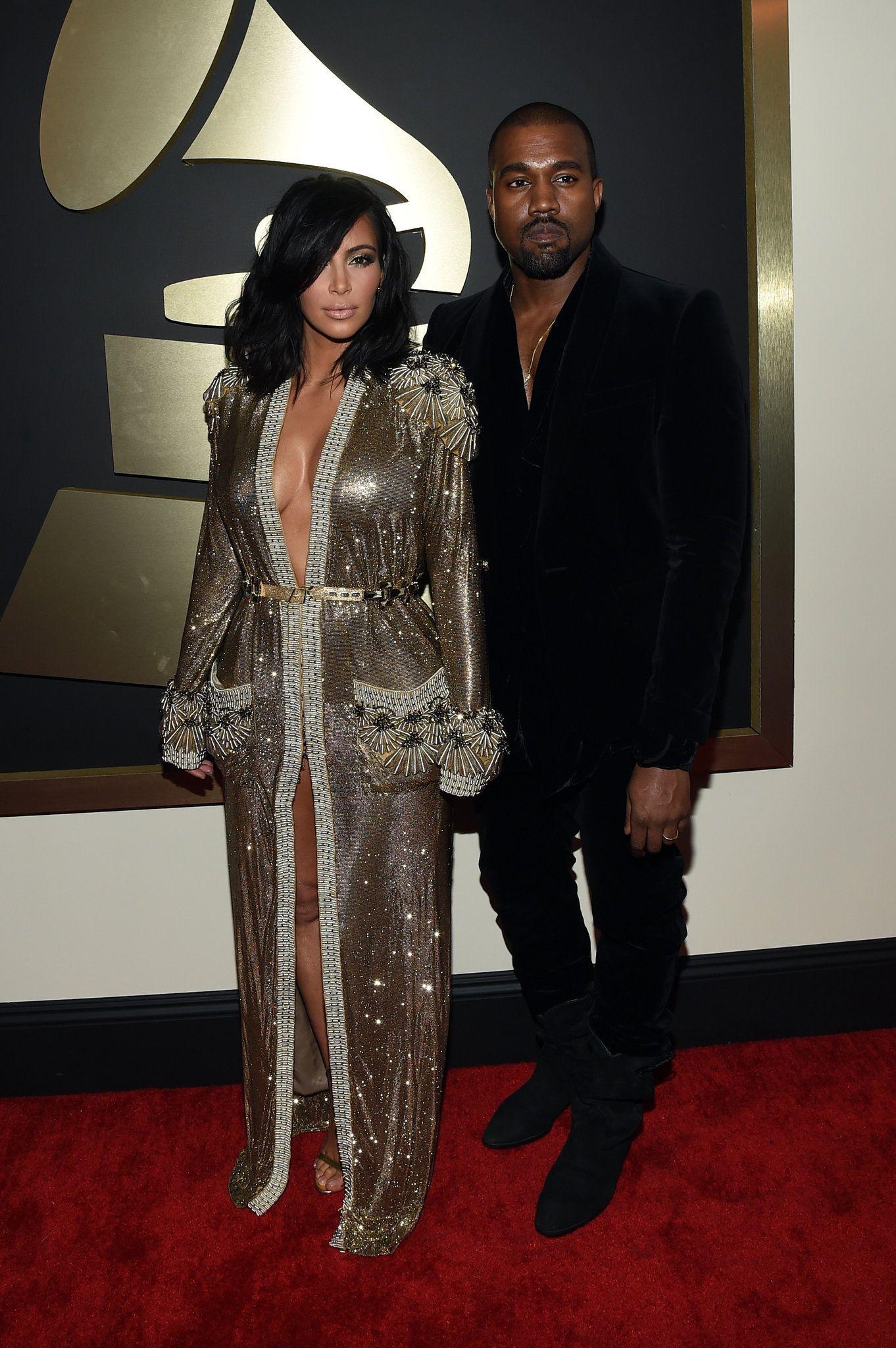Grammy Awards Kim Kardashian Kanye West Kim Kardashian And Kanye Grammy Awards Red Carpet