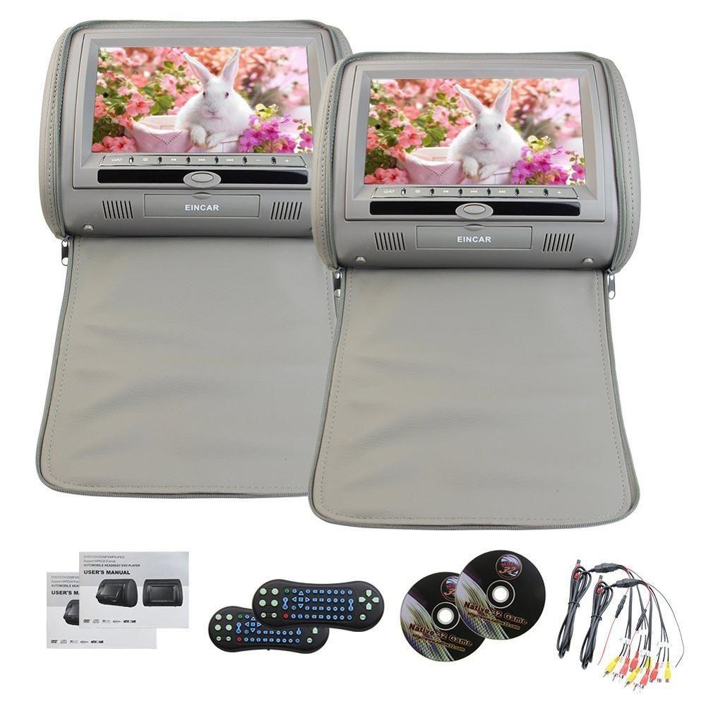 2PCS Pair Of Headrest 9LCD Car Pillow Monitor DVD Player 2 Twin Screens USB SD IR FM Transmitter 32 Bit Games