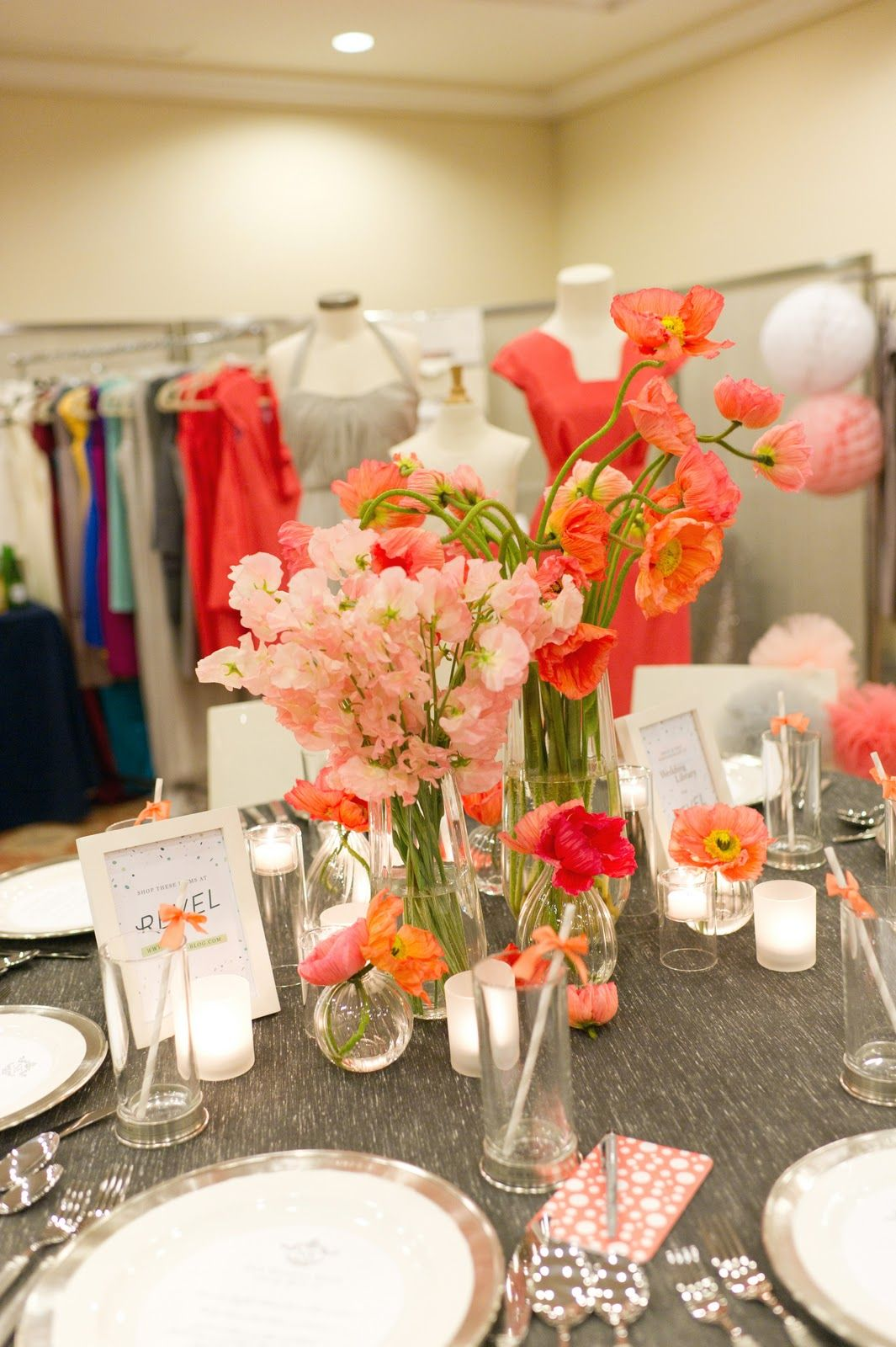 Coral And Grey Color Pallete At The Wedding Party Colour Pallete Wedding Wedding Reception Decorations