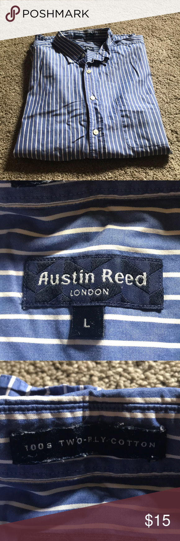 Austin Reed London Striped Long Sleeve Striped Long Sleeve Button Down Shirt Mens Casual Button Down Shirts