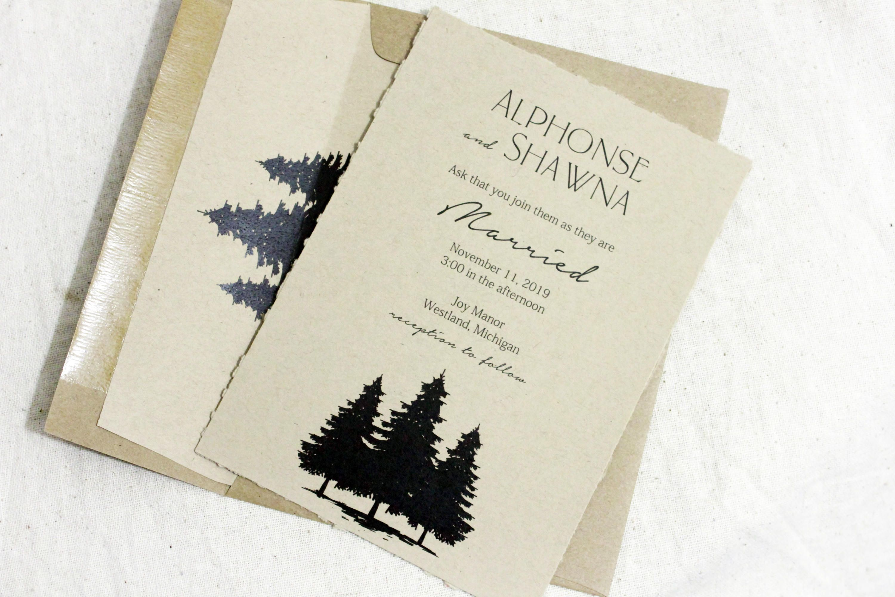 Rustic Wedding Invitations Recycled