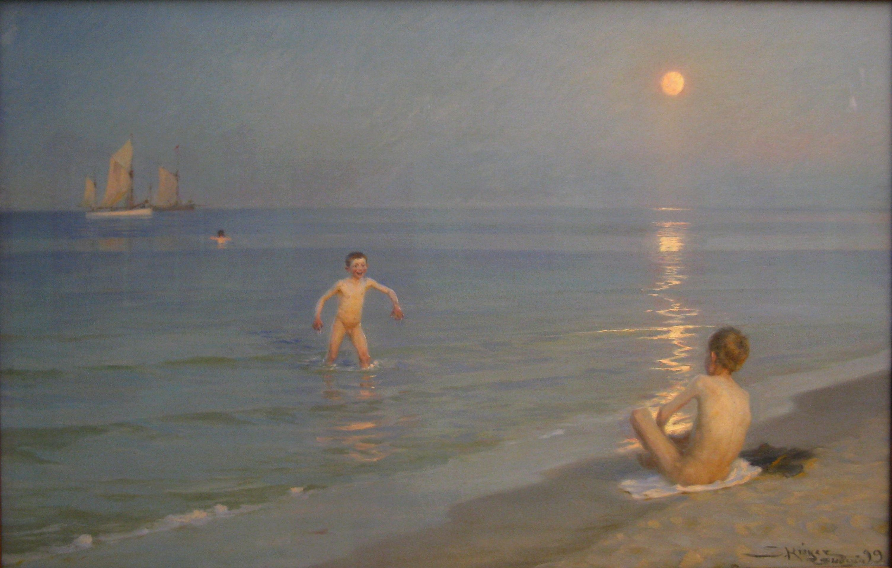 peder severin kroyer Boys_bathing_in_Skagen_summer_evening-Statens_Museum_for_Kunst