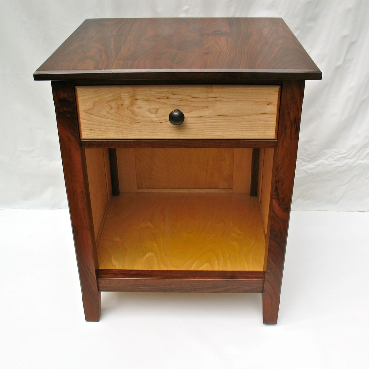 Black Walnut And Maple Nightstand With Raised Panels Nightstand