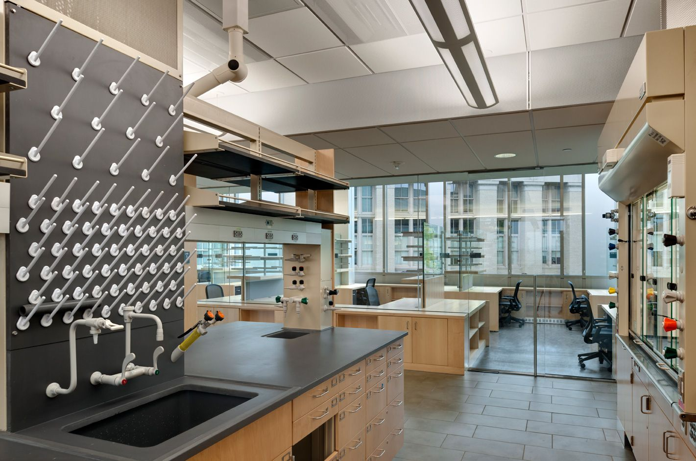 Energy intensive laboratory spaces are grouped and for Office design research