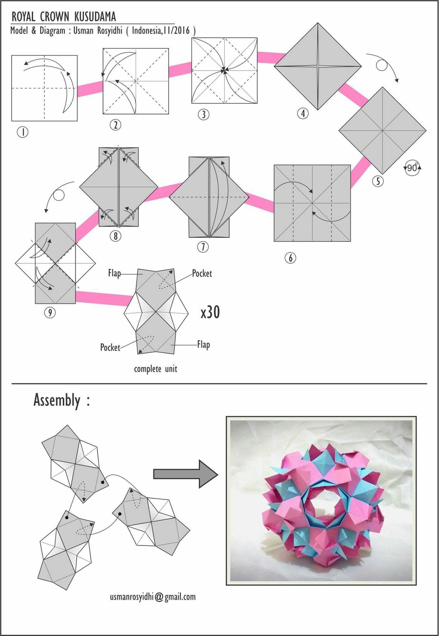 Electrum kusudama - diagram   Origami diagrams, Modular origami ...   2048x1414