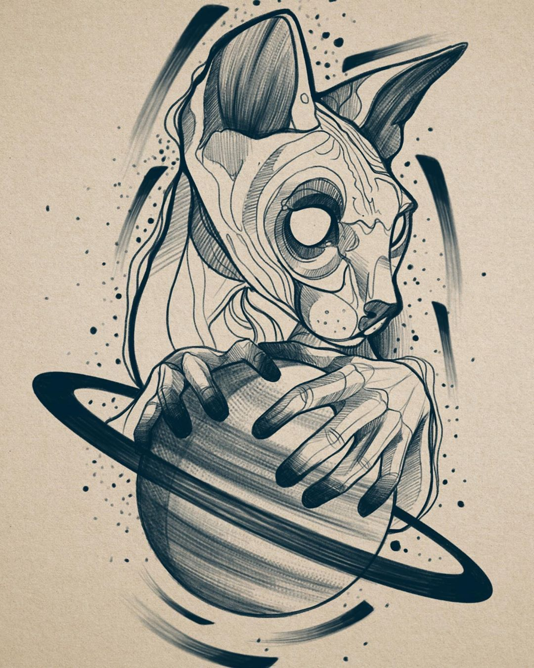#tattoodesign #sfenks #procreate #drawings #sketch #illustration #sfenkstattoo #animaltattoo #tattoo #animalsketch #onurchavdar #blackwork #chaotic #galaxy #saturntattoo #saturn #space #gothictattoo