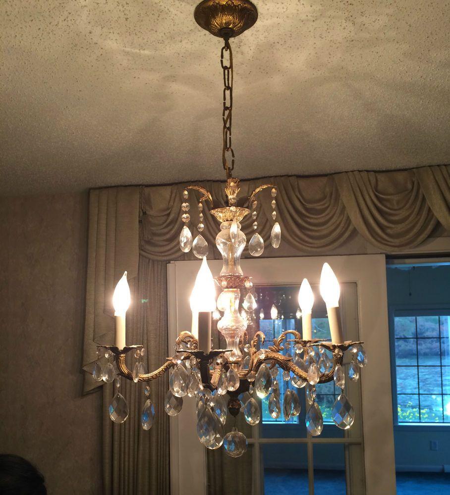 Beautiful Antique Brass/Glass 5 Light Chandelier Made In