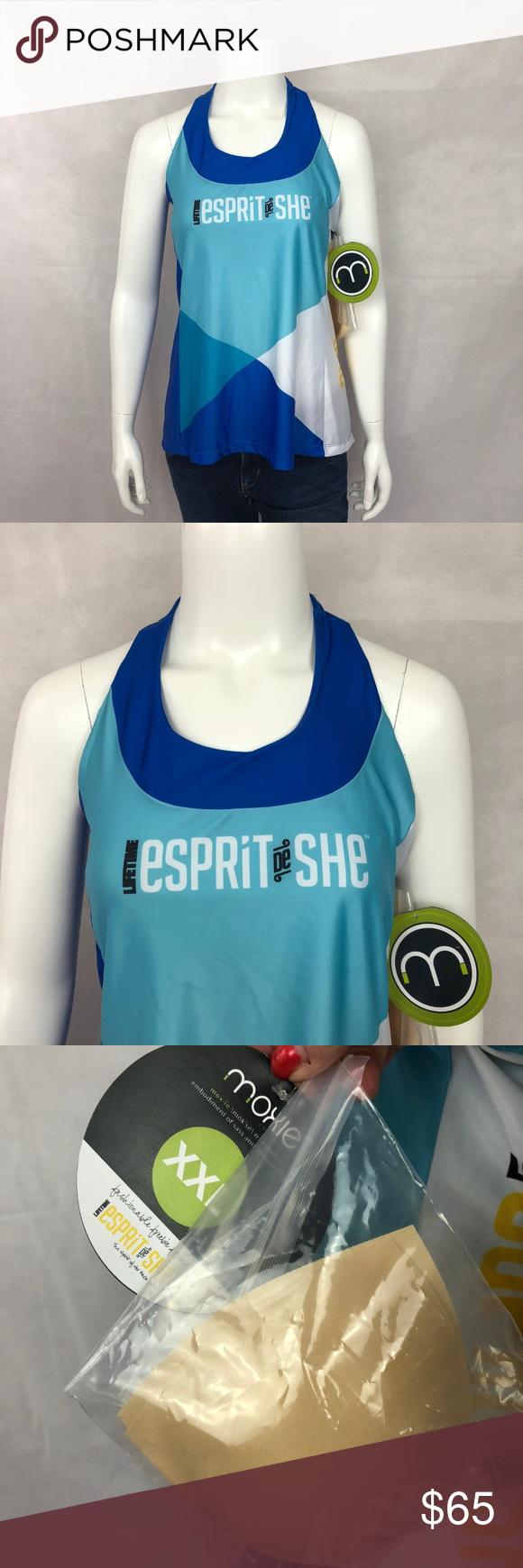 e9406465b947b New Moxie Blue Cycling Tank Top XXL -New with tags Moxie cycling tank top  -Size XXL -Lifetime Esprit De She race -83% deluxe wicking polyester 17%  spandex ...