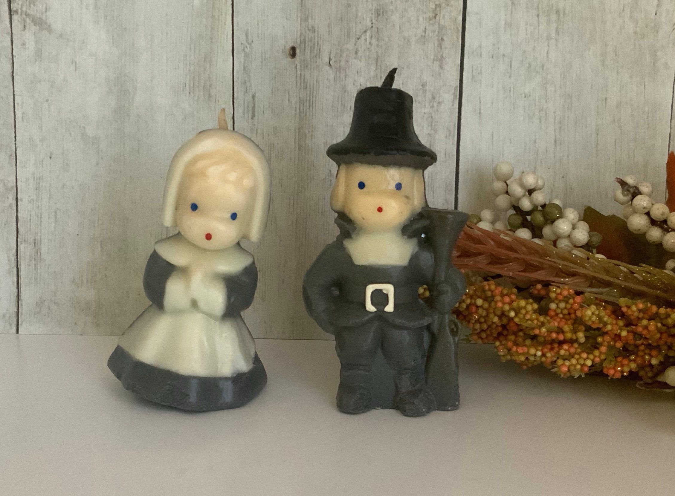 Vintage Gurley Pilgrim Candles, Thanksgiving Decor, Thanksgiving Dinner Centerpiece #thanksgivingdinnertable