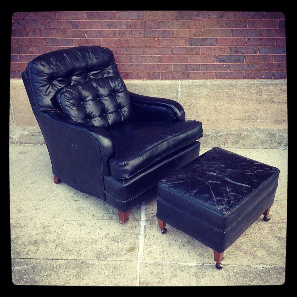 vintage black leather chair & ottoman Black leather