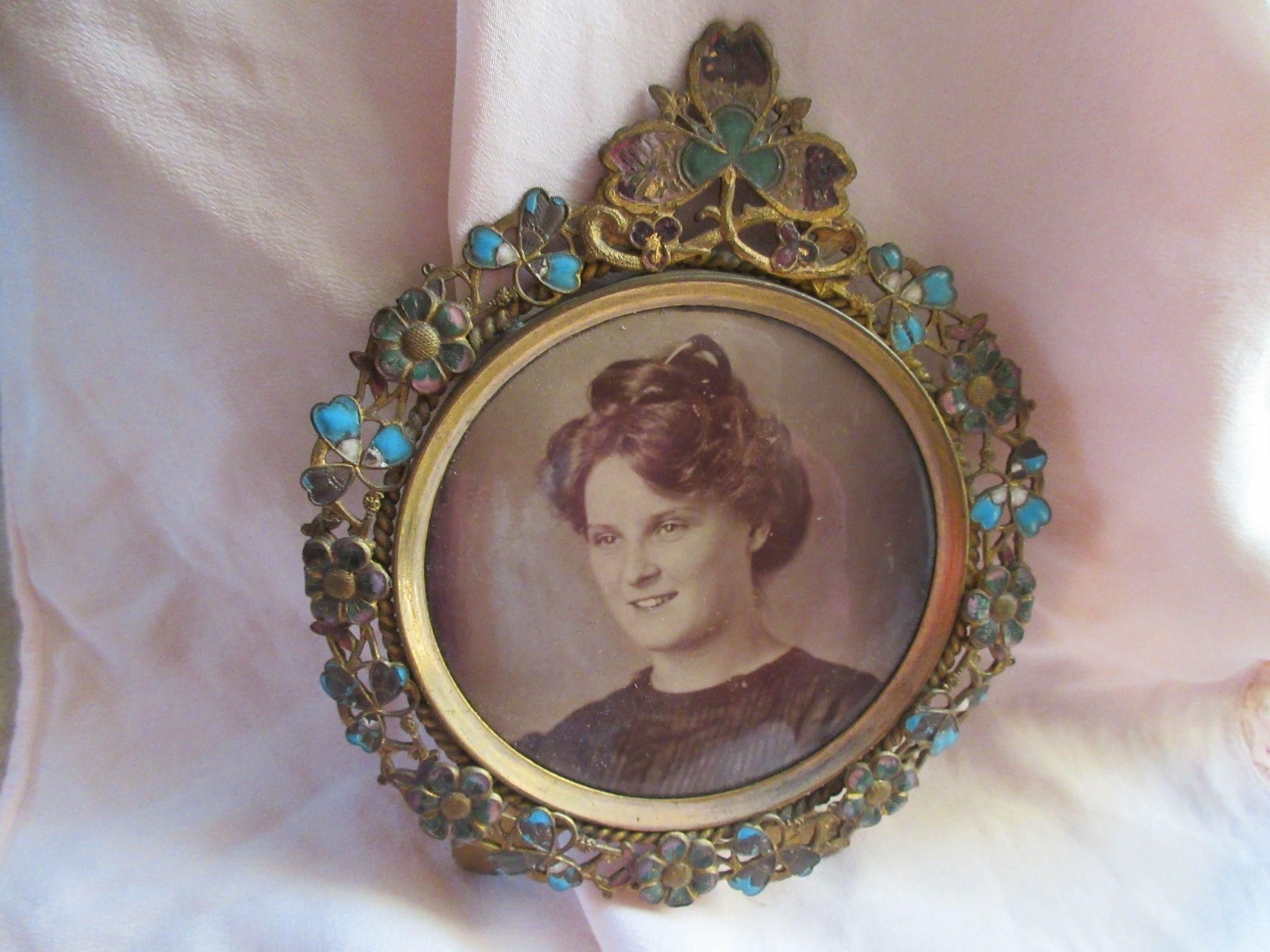 Victorian enameled brass picture frame with photo of woman victorian victorian enameled brass picture frame with photo of woman jeuxipadfo Choice Image